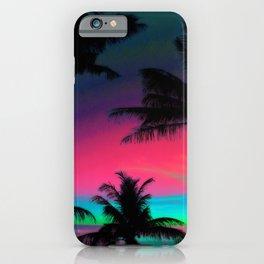 Deep Pink Palm Tree Sunset iPhone Case