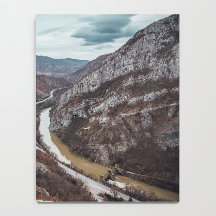 Beautiful photo of the canyon in Serbia, with river and the highway in the middle Notebook