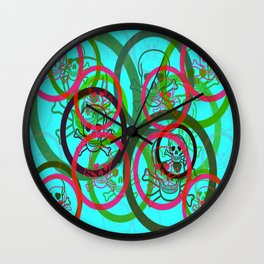 Mischievous Prankster Skull & Crossbones Collage Wall Clock