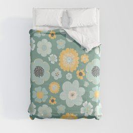 Modern Pretty Floral in Aqua and Gold No. 4 Comforters
