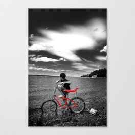 Red Bike and Cloudy Sky Canvas Print