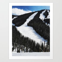 Tiny Skiers Art Print