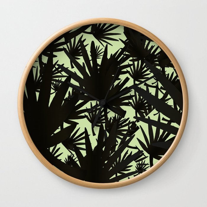 Modern black green abstract tropical leaves Wall Clock