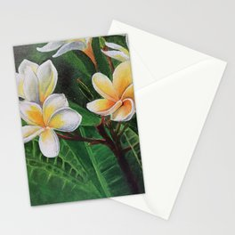 White Champa Stationery Cards