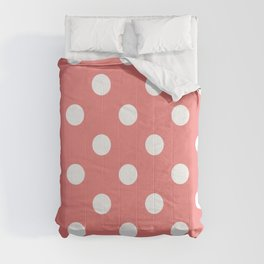 Polka Dots - White on Coral Pink Comforters