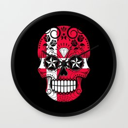 Sugar Skull with Roses and Flag of Denmark Wall Clock
