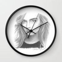cara delevingne Wall Clocks featuring Cara Delevingne by Giorgio Arcuri