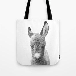 Black and White Baby Donkey Tote Bag