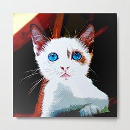 cute cat blue eyes vector art Metal Print