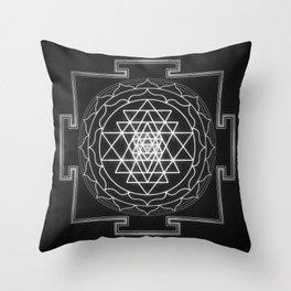 Sri Yantra XI - Black & White Throw Pillow