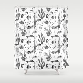 Black and white pattern. Fish . Shower Curtain