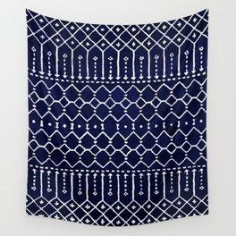 Indigo Dark Blue Farmhouse Moroccan Style. Wall Tapestry