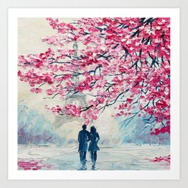 Couple of lovers under an umbrella, Paris, Eiffel Tower. Romantic oil painting on canvas, modern art Art Print