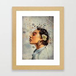 Watercolor whimsical digital portrait painting Framed Art Print