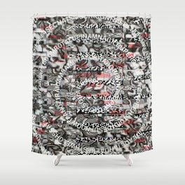 Creating Circumstances 4 Error 2 Fill the System with Meaning (P/D3 Glitch Collage Studies) Shower Curtain