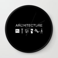 architecture Wall Clocks featuring Architecture by Rothko