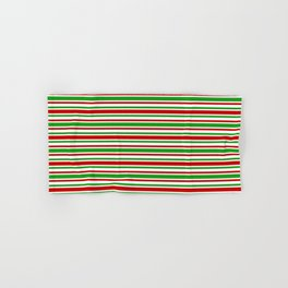 Christmas-Themed Red, White & Green Colored Stripes/Lines Pattern Hand & Bath Towel