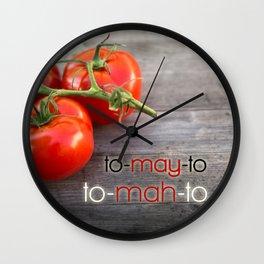 Tomato Pronunciations Typography Wall Clock