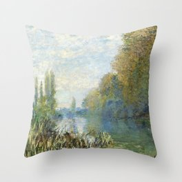 The Banks of The Seine in Autumn by Claude Monet Throw Pillow