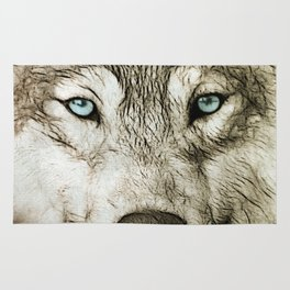 Smokey Sketched Wolf Rug