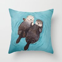 her Throw Pillows featuring Otterly Romantic - Otters Holding Hands by When Guinea Pigs Fly