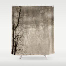 Tree Art In Wood Emulsion Shower Curtain