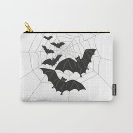 Black Bats with Spider Web Halloween Carry-All Pouch