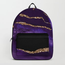 Purple & Black Agate Marble With Gold Glitter Veins Backpack