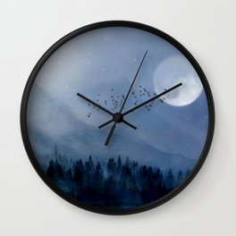 Mountainscape Under The Moonlight Wall Clock