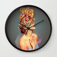 eugenia loli Wall Clocks featuring Freud vs Jung by Eugenia Loli
