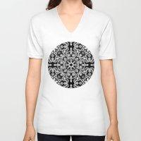 folk V-neck T-shirts featuring Black & White Folk Art Pattern by micklyn
