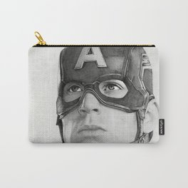 Portrait Drawing of Capt. America Carry-All Pouch