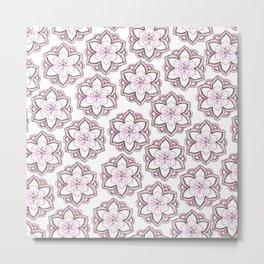 Original pencil hand drawn pink white floral pattern Metal Print