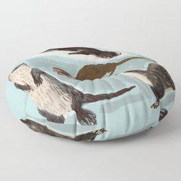 New World otters Floor Pillow