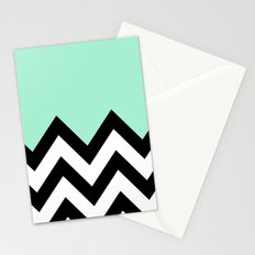 MINT GREEN COLORBLOCK CHEVRON Stationery Cards