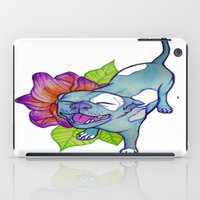 pit bull iPad Cases featuring Happy Pit by Olivia Bonebrake