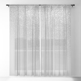 Diagonal Gray Silver Glitter Gradient Ombre Sheer Curtain