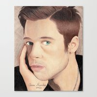brad pitt Canvas Prints featuring Brad Pitt by Jude's Art