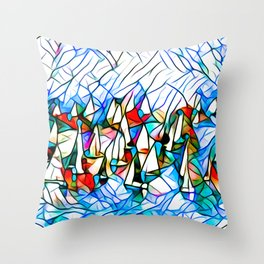 SAILBOAT BAY-Abstract Stained Glass Throw Pillow