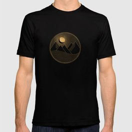 Golden Sunset Landscape with Mountains T-shirt