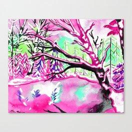 Frozen Pond Winter Landscape - Pink Palette Canvas Print