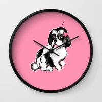 shih tzu Wall Clocks featuring Shih Tzu Puppy  by Artist Abigail