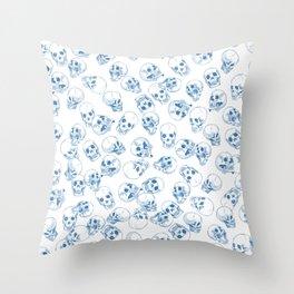 A Lot of Skulls Blue Throw Pillow