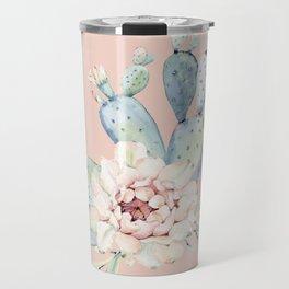 Sweet Pink Rose Desert Cactus Travel Mug