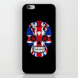 Sugar Skull with Roses and the Union Jack Flag iPhone Skin