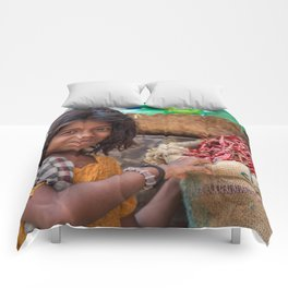 Girl with Chilies Comforters
