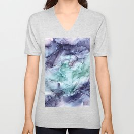 Growth- Abstract Botanical Fluid Art Painting Unisex V-Neck