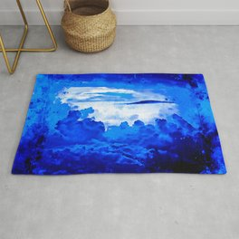 cloudy sky blue turquoise splatter watercolor Rug