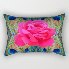 FUCHSIA PINK ROSE & BLUE PEACOCK FEATHERS ART ABSTRACT Rectangular Pillow
