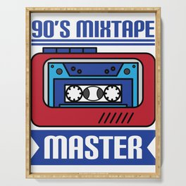 """Awesome design with cool text made just right for you! """"90's Mixtape Master"""" makes a nice gift! Serving Tray"""